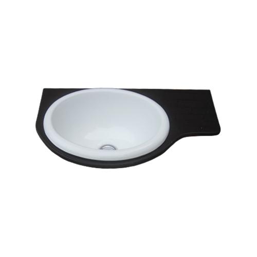 洗面ボウル付き大理石風石板 黒・ブラック W500×D295×T15 INK-0504098H