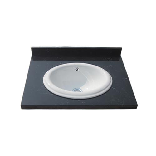 模様有り人工大理石洗面化粧台 黒・ブラック(陶器洗面ボウル付属)(洗面台・DIY・おしゃれ・インテリア)W600×D465×H80 INK-0504123H