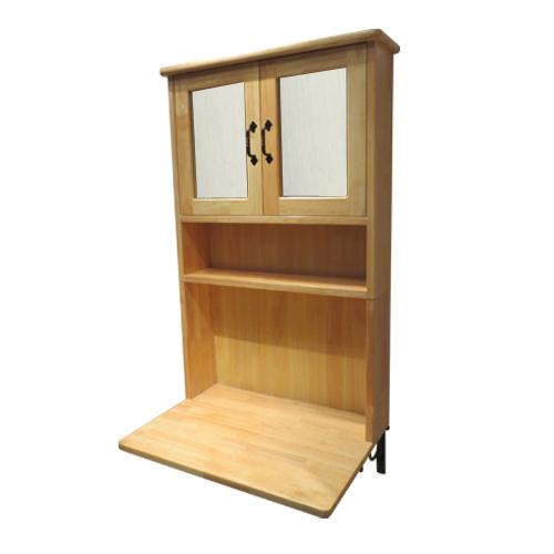 木製ミラーキャビネット一体型化粧台(アイアンブラケット付属・ナチュラル) W640×D395×H1020 INK-0504136Hset
