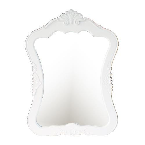 洗面台鏡 洗面鏡 ミラー 壁掛け おしゃれ フレーム付き PVC 白 ホワイト W665×H905×T50 INK-0701010H