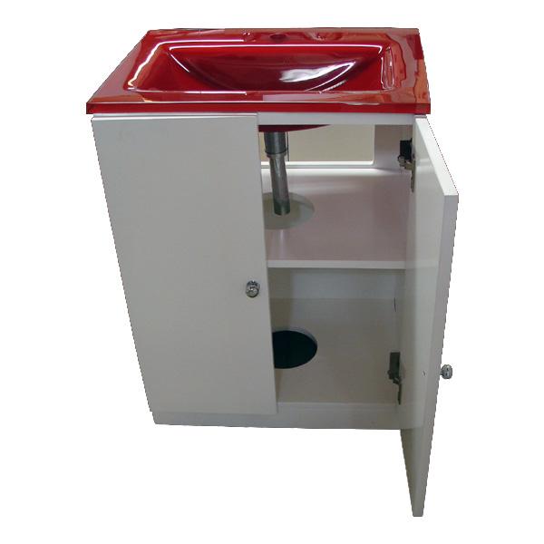 小さい洗面化粧台(小型洗面台・薄型・スリムタイプ)INK-1001-3(INK-0501034H)set-redレッド