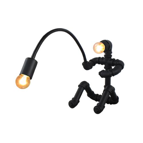 照明 卓上照明 デスクランプ ガス管 水道管 アイアン 釣り人 人型 | 品番INK-1005002H