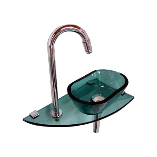 小さいガラス洗面化粧台(水栓取付可能・小さな洗面台・壁付コンパクトタイプ・トイレ用)ink-ano-gr だ円タイプ グリーン