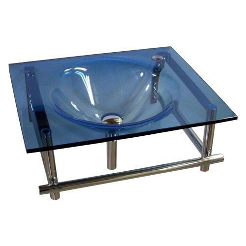 ガラス一体型洗面化粧台 W550(グリーン・洗面台・壁付け)KC-0011ON-BL