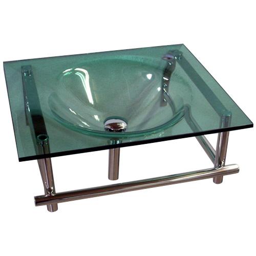 ガラス一体型洗面化粧台 W550(グリーン・洗面台・壁付け) KC-0011ON-GR