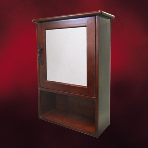 木製ミラーキャビネット(鏡・洗面化粧台棚・収納・鏡扉・カントリー調・ウッド)ダークブラウン INK-0702006H