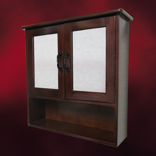 木製ミラーキャビネット(鏡・洗面化粧台棚・収納・鏡扉・カントリー調・ウッド)ダークブラウン INK-0702008H