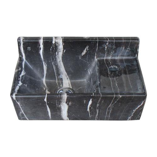 洗面ボウル 陶器 小さい 石目柄 マーブルブラック 壁付け型 オーバーフロー無し 単水栓用 W355×D195×H180 | 品番INK-0403312H