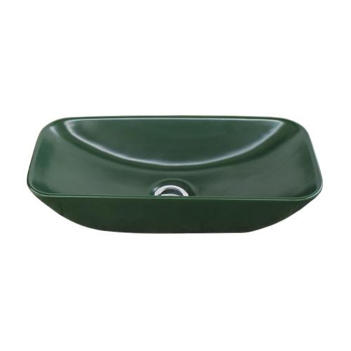 洗面ボウル 陶器 おしゃれ ユニーク 置き型(オンカウンターシンク) 緑 グリーン オーバーフロー無し W475×D230×H105 | 品番INK-0403338H