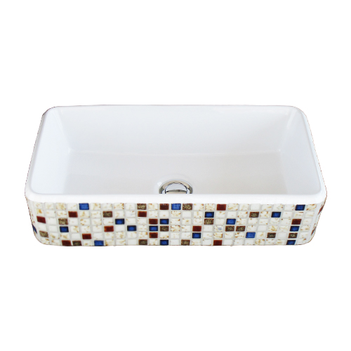 洗面ボウル 陶器 モザイクタイル 置き型(オンカウンターシンク)オーバーフロー無し W475×D240×H120   品番INK-0403350H
