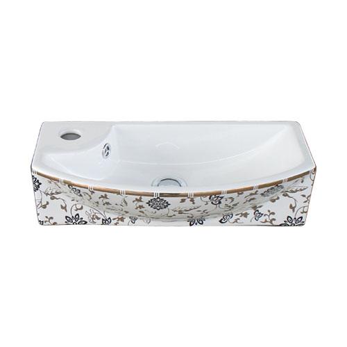 洗面ボウル 陶器 小さい 金花柄 置き型(オンカウンターシンク)・壁付け型 オーバーフロー有り W450×D230×H120   品番INK-0403364H