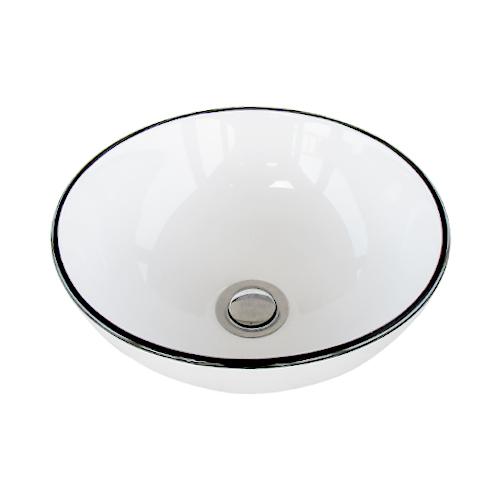 洗面ボウル 陶器 おしゃれ ユニーク 置き型(オンカウンターシンク) モノクロ オーバーフロー無し W280×D280×H120 | 品番INK-0403374H