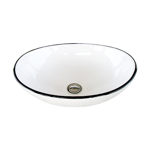 洗面ボウル 陶器 おしゃれ ユニーク 置き型(オンカウンターシンク) モノクロ オーバーフロー無し W410×D330×H145   品番INK-0403375H