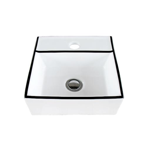 洗面ボウル 陶器 おしゃれ ユニーク 置き型(オンカウンターシンク) モノクロ オーバーフロー無し W280×D280×H105 | 品番INK-0403376H
