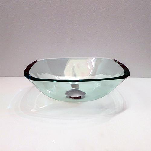 小さい四角型ガラス洗面ボウル(角丸四角・スクエア・透明・クリア) W320×D320×H120 INK-0406021H