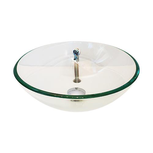 洗面ボウル ガラス 丸型 置き型(オンカウンターシンク) 透明 クリア オーバーフロー有り W420×D420×H140 | 品番INK-SI-bowl-cr