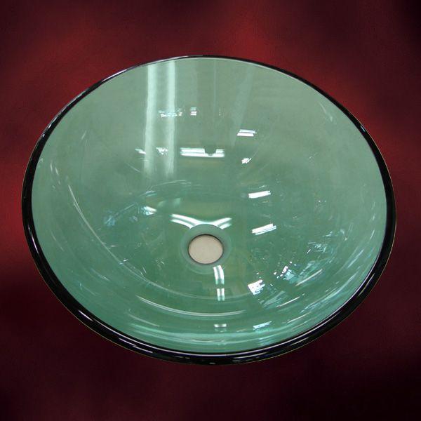 洗面ボウル(おしゃれな手洗器・洗面ボール・ガラスシンク・洗面台・手洗い鉢・緑)420mm-gr