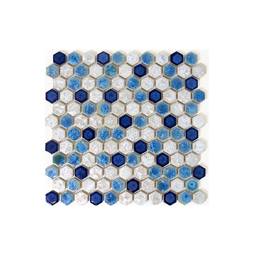 モザイクタイル DIY 陶器 裏ネット張り 青色×白色 ブルー×ホワイト 11枚セット(約1m2) | 品番INK-YZ1C30