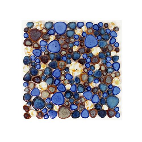 モザイクタイル DIY 陶器 裏ネット張り 玉石 11枚セット(約1m2) | 品番INK-YZ6083