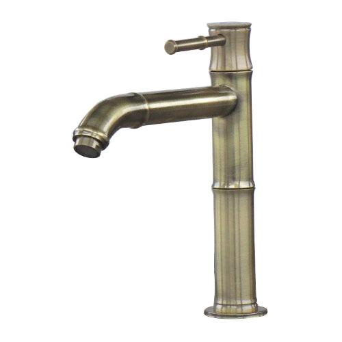 単水栓 蛇口 カラン 竹型 おしゃれ 古金 W35×D220×H220 | 品番INK-0302092H