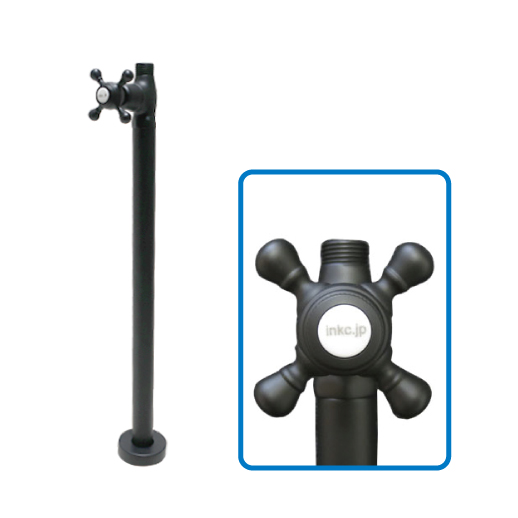 水栓の色に合わせるとよりおしゃれ ストレート止水栓 床給水用 クロスハンドル ショッピング おしゃれ メーカー再生品 品番INK-0304033G ブラック リフォーム 黒 DIY