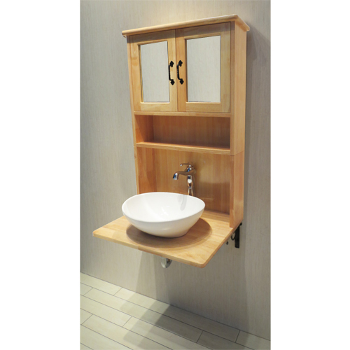 【Eセット67】木製ミラーキャビネット一体型洗面化粧台セット(混合水栓・ナチュラル)  W620×D395×H1020 INK-0504136Hset2