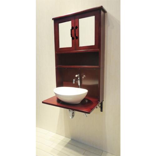 【Eセット68】木製ミラーキャビネット一体型洗面化粧台セット(単水栓・ブラウン) W620×D395×H1020 INK-0504137Hset1
