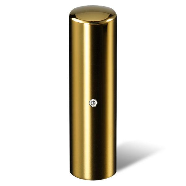 個人印鑑・実印・ジュエリーチタン・ゴールドミラー(スワロフスキーアタリ色・有無選択可)・印面直径約16.5mm×長さ約60mm・ケース別売り