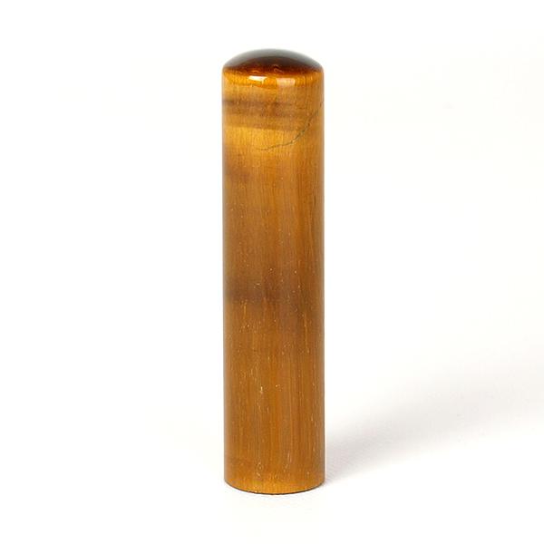 個人印鑑・銀行印・タイガーアイ/虎目石(アタリ無し)・印面直径約13.5mm×長さ約60mm・ケース別売り
