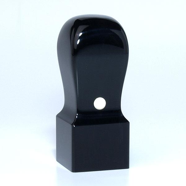 蔵書印[職人彫り]・黒水牛特上・角天丸・印面約24x24mm・長さ約60mm・ケース別売り