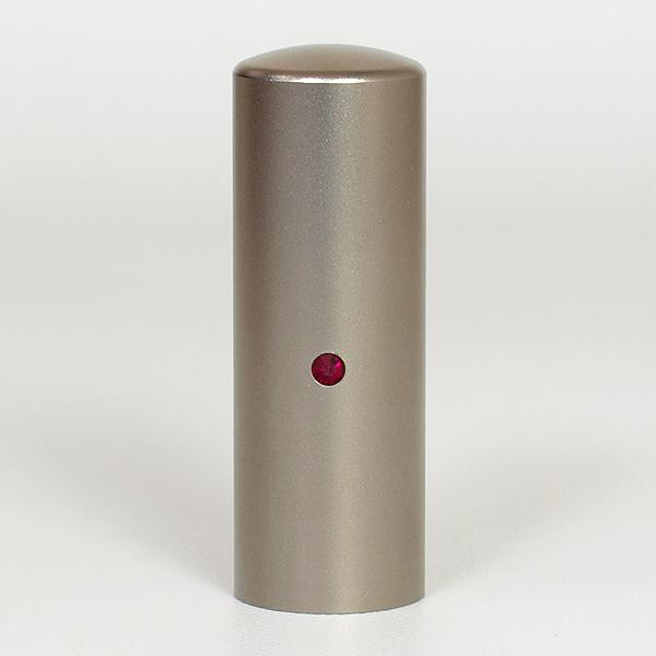 先生印(資格印・職印・士業印)丸印・シルバーブラストチタン・丸寸胴(スワロフスキーアタリ付)・ルビー・印面直径約21mm×長さ約60mm・ケース別売り