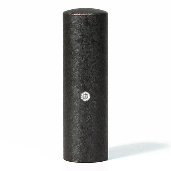 法人印鑑・銀行印ジュエリーチタン印鑑・ブラック粒界チタン・丸寸胴(スワロフスキーアタリ色選択可)・印面直径約18mm×長さ約60mm・ケース別売り