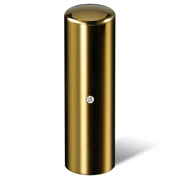 法人印鑑・銀行印ジュエリーチタン印鑑・ゴールドミラー・丸寸胴(スワロフスキーアタリ色・有無選択可)・印面直径約18mm×長さ約60mm・ケース別売り