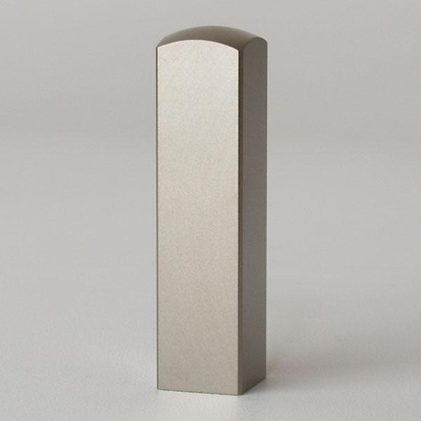 先生印(資格印・職印・士業印)角印・シルバーブラストチタン・角寸胴(アタリ無し)・印面約15x15mm・長さ約60mm・ケース別売り