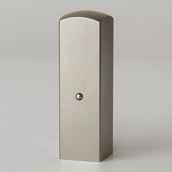 蔵書印・シルバーブラストチタン・角寸胴(チタン球アタリ付)・印面約18x18mm・長さ約60mm・ケース別売り