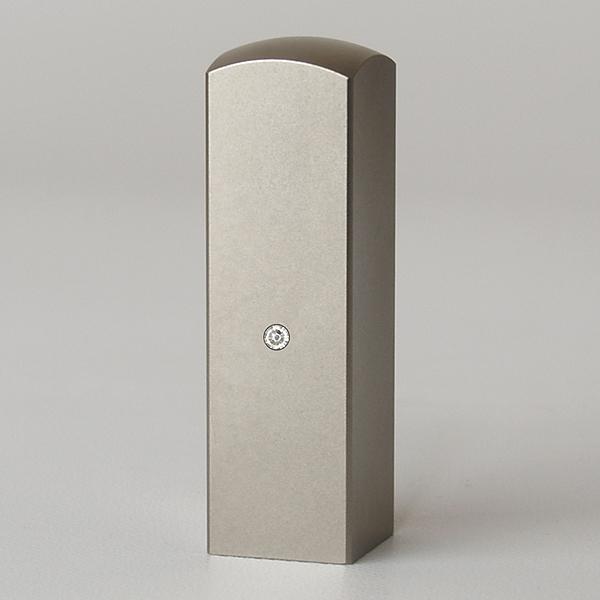 先生印(資格印・職印・士業印)角印・シルバーブラストチタン・角寸胴(スワロフスキーアタリ付)・クリスタル・印面約18x18mm・長さ約60mm・ケース別売り