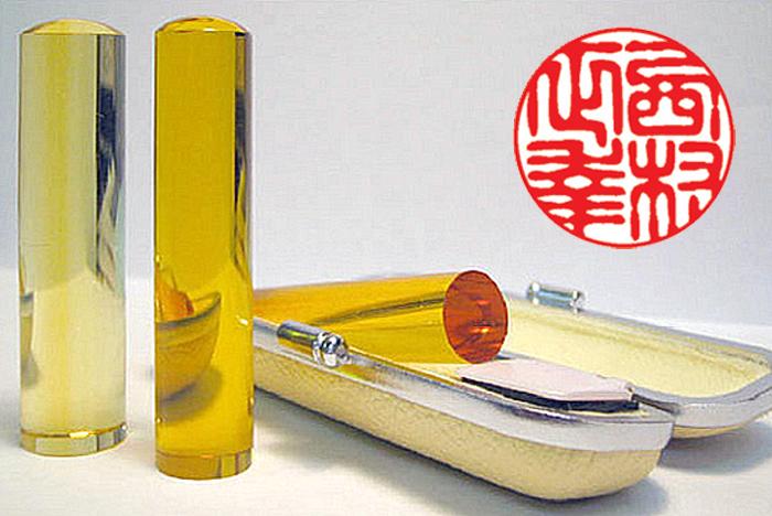 個人用 宝石印鑑 実印 黄水晶(シトリントパーズ) 18mm×60mm