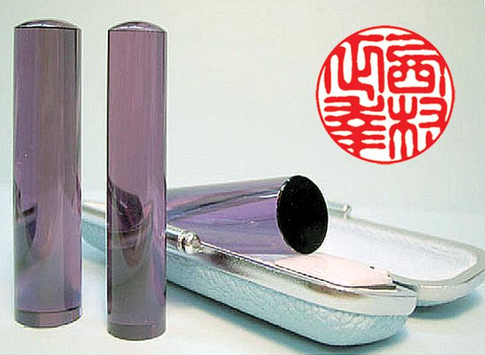 個人用 宝石印鑑 実印 紫水晶(アメジスト) 13.5mm×60mm