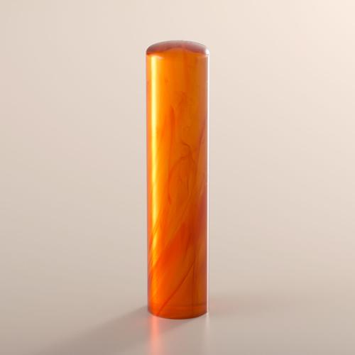 琥珀の認印[匠の完全手彫り印鑑]アタリ無し/13.5mm/ケース別売