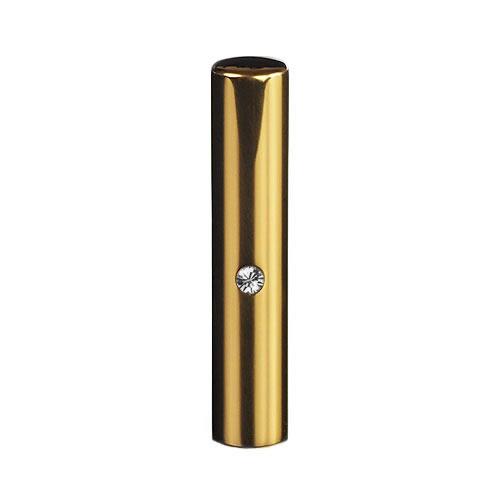 ゴールドチタン ミラーゴールド(スワロフスキーアタリ付き)印鑑/個人銀行印クリスタル/12mm/ケース別売