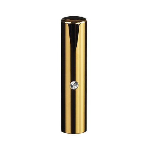 ゴールドチタン ミラーゴールド(スワロフスキーアタリ付き)印鑑/個人銀行印クリスタル/13.5mm/ケース別売