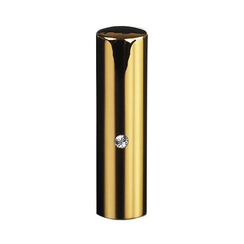ゴールドチタン ミラーゴールド(スワロフスキーアタリ付き)印鑑/個人銀行印クリスタル/16.5mm/ケース別売
