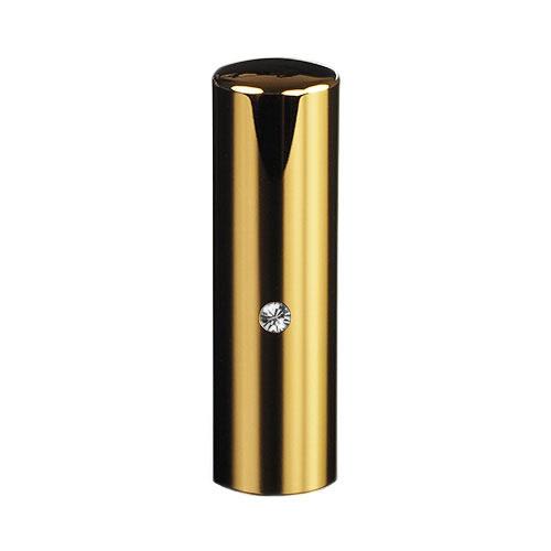 ゴールドチタン ミラーゴールド(スワロフスキーアタリ付き)印鑑/個人銀行印クリスタル/18mm/ケース別売