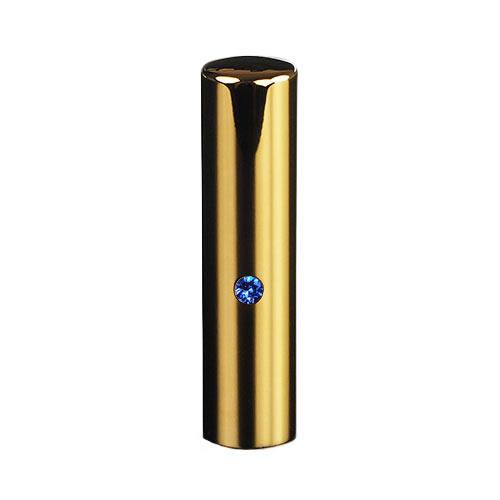 ゴールドチタン ミラーゴールド(スワロフスキーアタリ付き)印鑑/個人銀行印サファイア/15mm/ケース別売