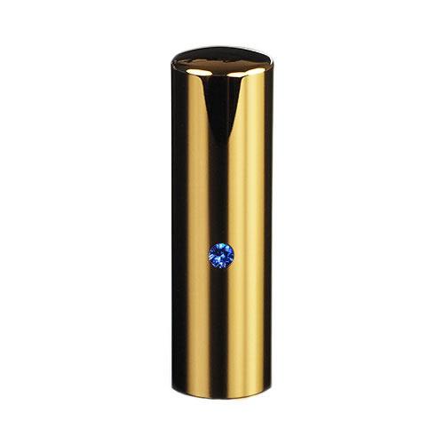 ゴールドチタン ミラーゴールド(スワロフスキーアタリ付き)印鑑/個人銀行印サファイア/18mm/ケース別売
