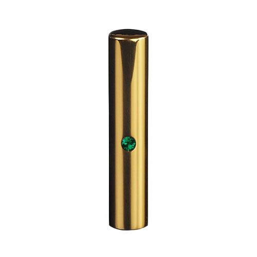 ゴールドチタン ミラーゴールド(スワロフスキーアタリ付き)印鑑/個人銀行印エメラルド/12mm/ケース別売