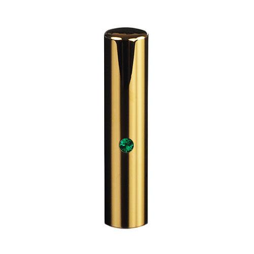 ゴールドチタン ミラーゴールド(スワロフスキーアタリ付き)印鑑/個人銀行印エメラルド/13.5mm/ケース別売