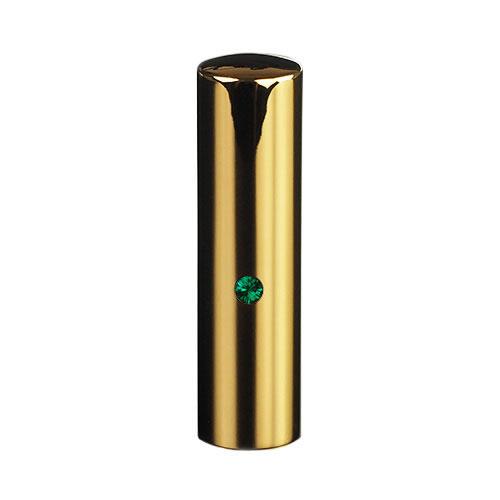 ゴールドチタン ミラーゴールド(スワロフスキーアタリ付き)印鑑/個人銀行印エメラルド/16.5mm/ケース別売