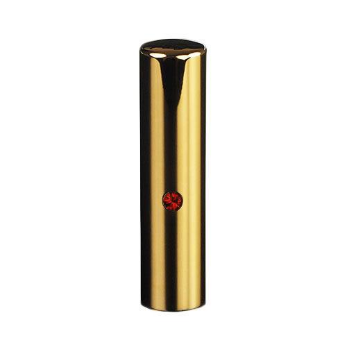 ゴールドチタン ミラーゴールド(スワロフスキーアタリ付き)印鑑/個人認印ルビー/15mm/ケース別売