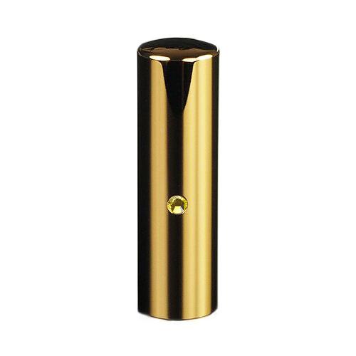 ゴールドチタン ミラーゴールド(スワロフスキーアタリ付き)印鑑/個人銀行印シトリン/18mm/ケース別売